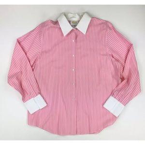 Talbots 16 Pink White Stripe Blouse 100% Cotton